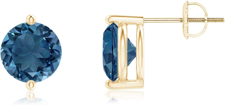 November Birthstone - Unique Two Prong-Set London Blue Topaz Stud Earrings (7mm London Blue Topaz)