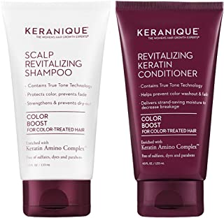 Keranique Keratin Shampoo and Conditioner Set for Colored Thinning Hair, Sulfates/Parabens Free, stimulates scalp to nourish/rejuvenate hair follicles for healthy Thicker Fuller Hair 4.5 OZ each