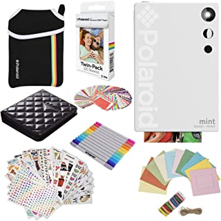Polaroid Mint Instant Digital Camera (White) Gift Bundle + Paper (20 Sheets) + Deluxe Pouch + 9 Fun Sticker Sets + Twin Tip Markers + Photo Album + Hanging Frames + 100 Sticker Frame Set