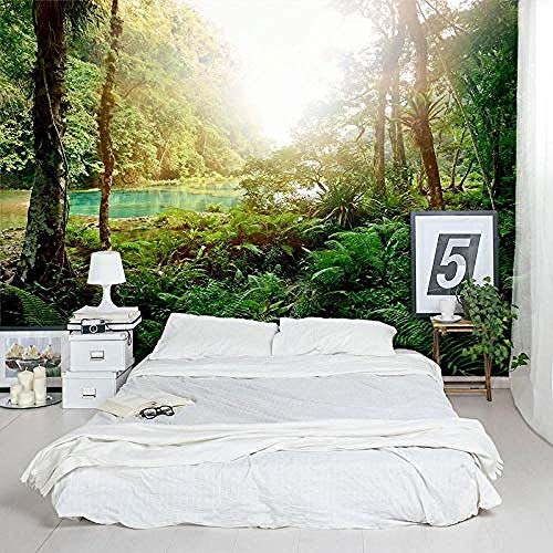 Personalisierte Tapete Lush Tropical Lagoon Jungle TV Wall Wallpaper fototapete 3d effekt tapete tapeten wald vintage wandbild wandbilder kinderzimmer-400cm×280cm