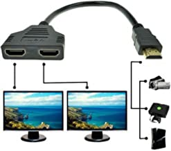 Geekercity HDMI Male to Dual HDMI Female 1 to 2 Way Splitter Adapter Cable for HDTV (Doesn't Work with Laptop or Computer)
