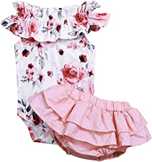 Newborn Baby Girl Jumpsuit Bodysuit Pink Sleeveless Ruffles Off-Shoulder Romper +Floral Shorts Summer Outfit Set