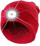 Lunartec Stirnlampe: Rote Strickmütze mit weißen (vorne) & roten (hinten) LEDs...