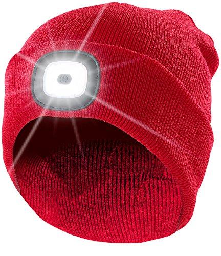 Lunartec Stirnlampe: Rote Strickmütze mit weißen (vorne) & roten (hinten) LEDs (Mütze LED)