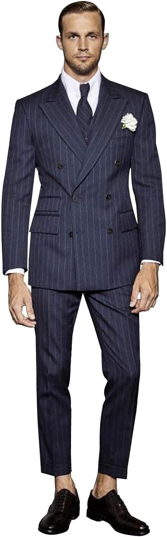 P&G Men's Pinstripe Three Pieces Suit DoubleBreasted Business Wedding Party Jacket Vest& Pants Set