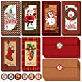 48 Sets 6 Festive Buffalo Plaid Designs Merry Christmas Money Cash Gift Cards Holders Christmas Money Card Cash Card Holder Money Wallet Holiday Cards Snowman Santa Winter Gift Cards with Envelopes
