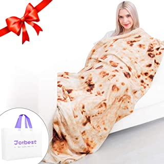 Jorbest Burritos Tortilla Blanket for Adult and Kids, Comfort Throw Blanket, Novelty Round Food Blanket for Everyone - Diameter 80 inches, Yellow Blanket-h