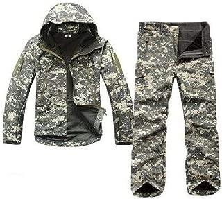 Ropa de la Caza Gear Soft Shell Chaqueta de Camuflaje táctico Conjunto del ejército Impermeable Capa Pantalones Chaqueta Militar de Airsoft Paintball