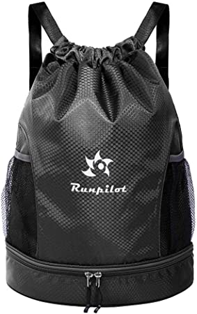 Runpilot Drawstring Backpack Bag With Ball Shoe Compartment