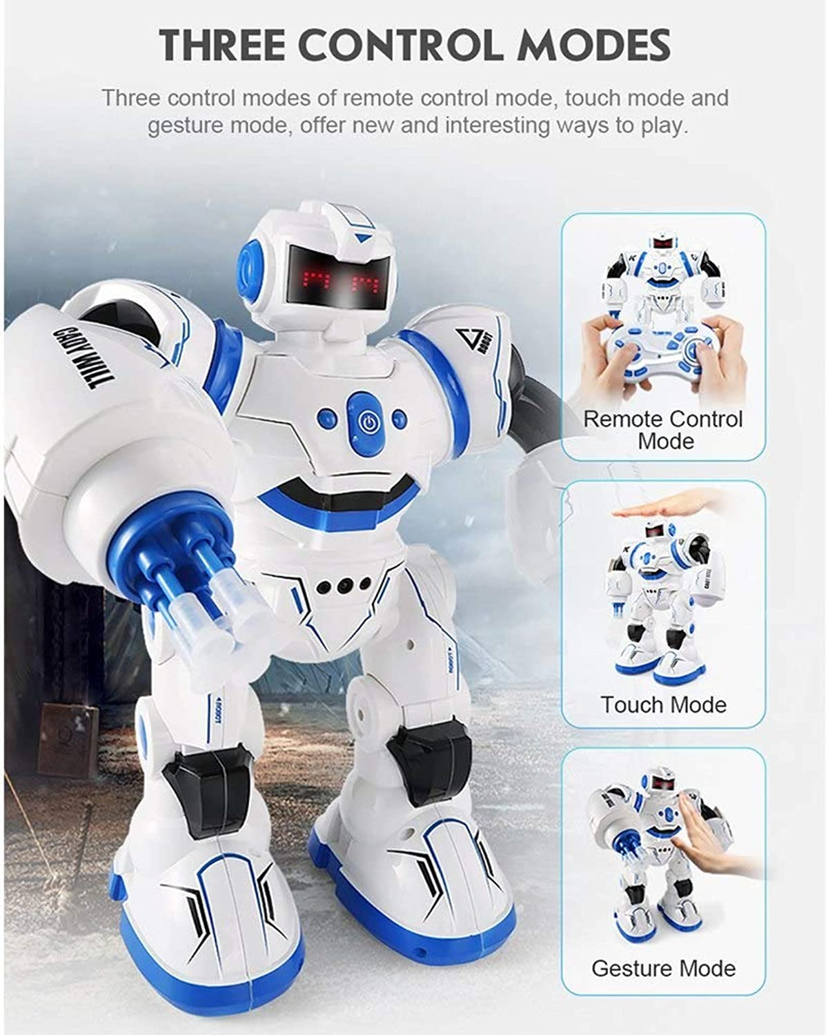 Generic JJRC R3 Programmable Defender Remote Control Early Education Intelligent Robot Multi Funtion Musical Dancing RC Roboat Xmas Gift bluee