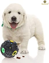 SunGrow Interactive Treat Dispenser Dog Toy - Food Puzzle Ball - for Mental & Physical Stimulation - Increases IQ, Boredom Buster - Produce Sound on Rolling