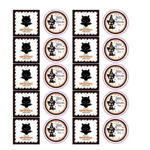 Amosfun 100 Stücke Halloween Cartoon Hanging Tag Süßigkeiten Kekse Tasche Dekoration Karte Geschenk Tasche Hängen Anhänger