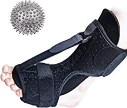 Plantar Fasciitis Foot Drop Orthotic Brace, Dorsal Adjustable Elastic Night Splint, Effective Relief for Heel, Ankle, Plantar Fasciitis Pain, Foot Pain, Plus Hard Spiky Massage Ball.