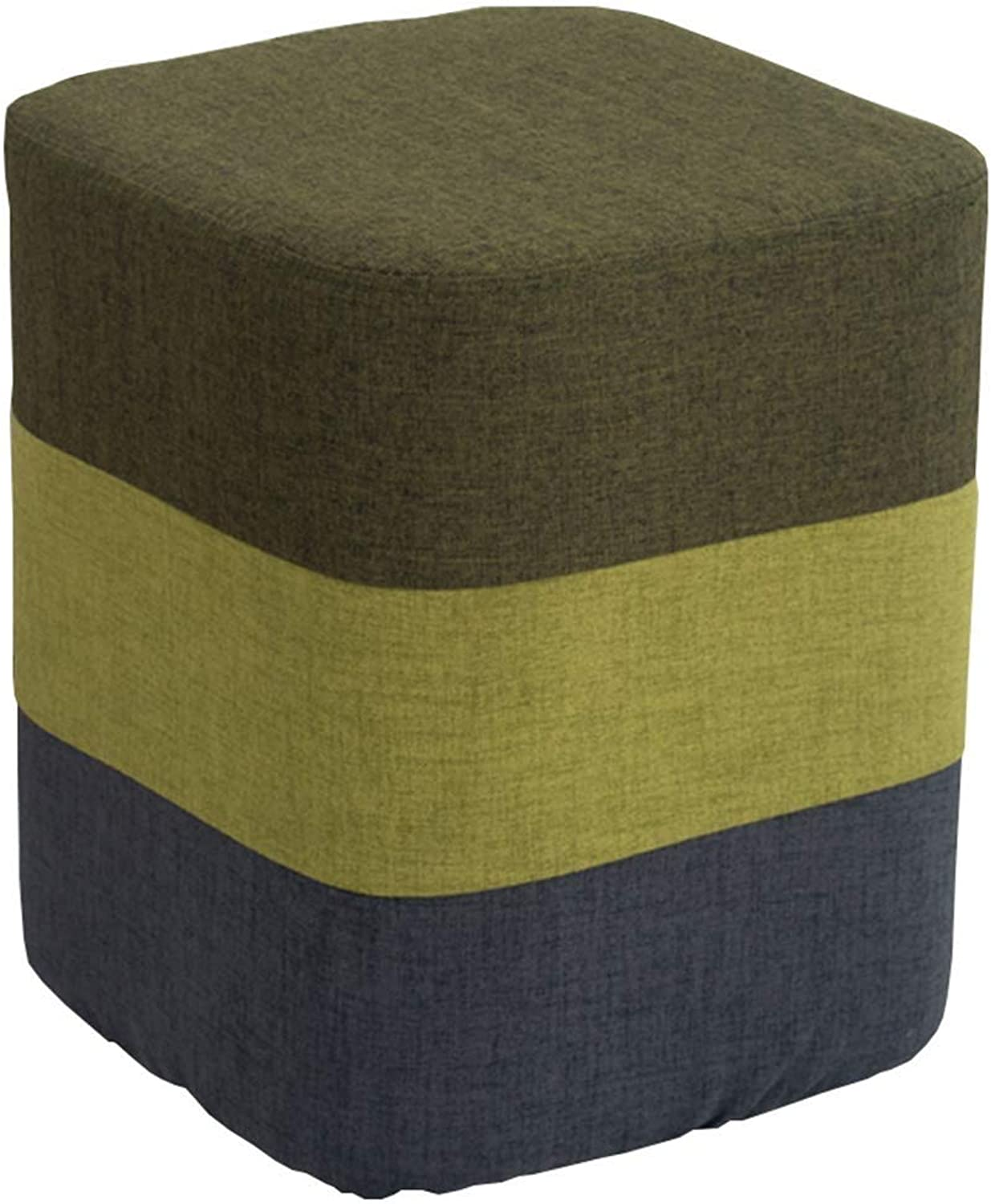 Stool Simple Fashion Home Multi-Function Sofa Stool Solid Wood Seat Leisure Stool Makeup Stool Multi-color Optional CONGMING (color   Dark-Green, Size   30  30  35cm)