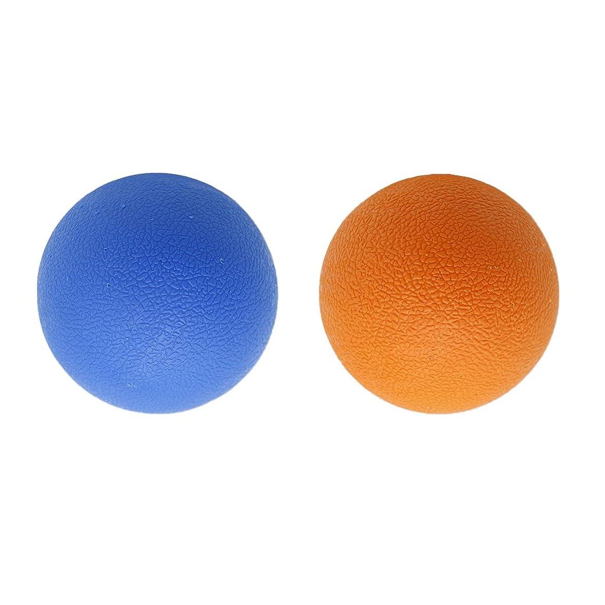 特殊異常な梨Baoblaze 2個 マッサージボール ラクロスボール トリガ ポイントマッサージ 弾性TPE 多色選べる - オレンジブルー