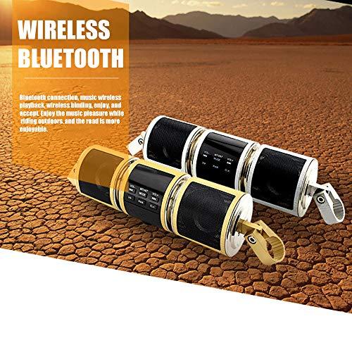 Motorrad Bluetooth Lautsprecher, SUNJULY MT487 Motorrad Musik Player FM Radio Einstellbarer Mit LED Bildschirm Wasserdicht Für Motorrad, Smartphones, Tablets, Schwarz/Silber/Golden