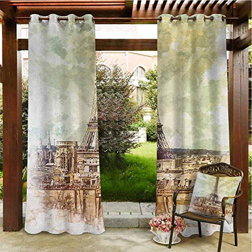 Eiffel Tower Outdoor Privacy Curtain for Pergola Pastel Watercolor Style Print Vintage Eiffel Tower Skyline Parisian Theme Art Polyester Material 84x108 INCH,Brown Beige