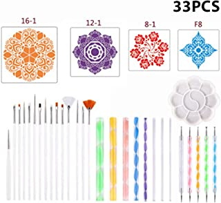 33 Pieces Mandala Dotting Tools for RoRock Painting Coloring Drawing and Drafting Art Supplies Kits Including Mandala Sten...