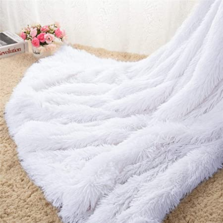 Homore Soft Fluffy Blanket Fuzzy Sherpa Plush Cozy Faux Fur Throw Blankets for Bed Couch Sofa Chair Decorative, 50''x60'' White