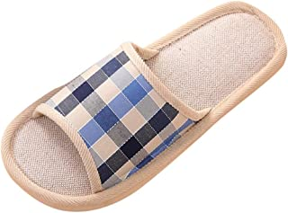 Auniemifly Women Men Couples Gingham Home Slippers Ladies Casual Indoor Floor Linen Flat Shoes Slides