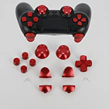 Full Aluminum Metal Buttons for PS4 Controller, YTTL Custom Metal Thumbsticks Analog Grip + Metal ABXY + D-pad + Metal L1 R1 L2 R2 Trigger Buttons for Playstation 4 DualShock 4 PS4 Controller - Red