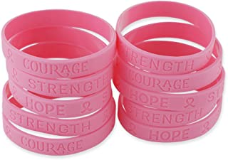 Forge Pink Ribbon Heart Breast Cancer Awareness Wristbands Hope Strength Courage Silicone Bracelets