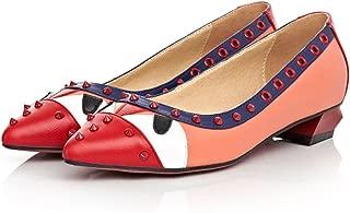 LAROK Women's Monster Pointy Toe Ballet Snakeskin Element Flat Shoes Metal Rivet Walking Flats Shoes