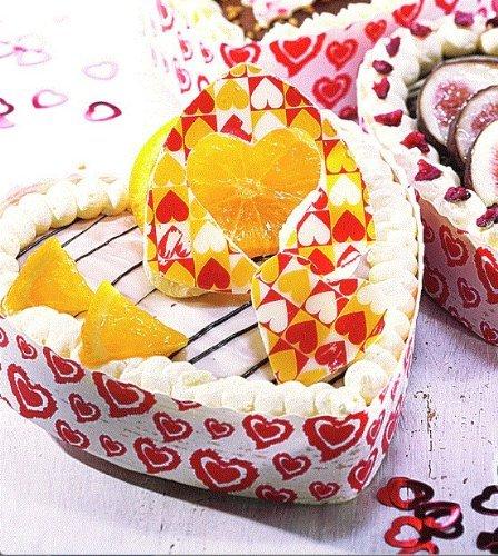 10 Einweg Papier Backformen Herz weiss rot 13,0 cm x 3,5 cm