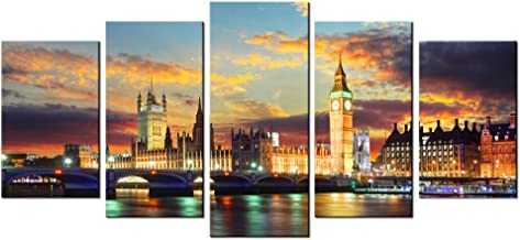 LevvArts - 5 Piece Wall Art London Big Ben Paintings on Canvas City Skyline at Sunset Dusk Picture Prints London Landscape Poster for Home Kitchen Living Room Decor Framed and Easy Hanging