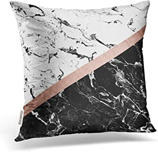 Accrocn Throw Pillow Covers Modern Black White Marble Color Block Rose Gold Pillowcases Polyester 16 x 16 Inch Cushion Decorative Pillowcase Square with Hidden Zipper Home Sofa
