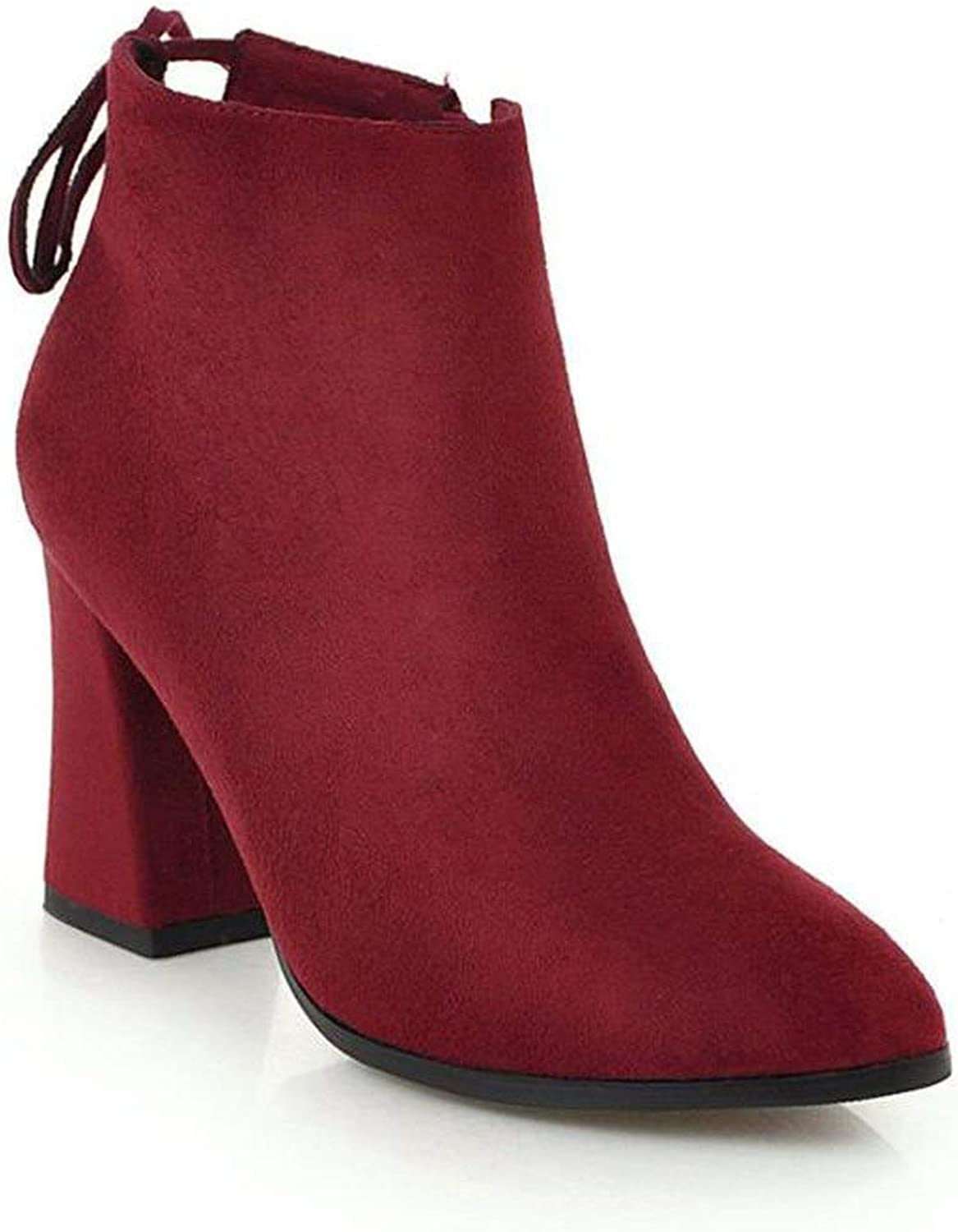 Autumn Winter Women Boots Solid Lace-up Ladies shoes Pu Leather Boots