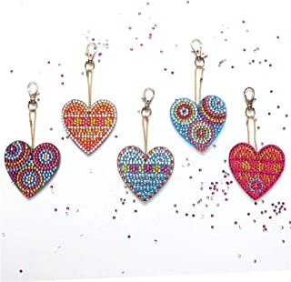 🍀Libobo🍀5PCS DIY Special Shape Full Diamond Diamond Pattern Key Ring Set Diamond Embroidery