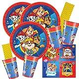 Amscan/Hobbyfun Juego de 64 piezas para fiesta de la Patrulla Canina, platos, vasos, servilletas y pajitas para 16 niños