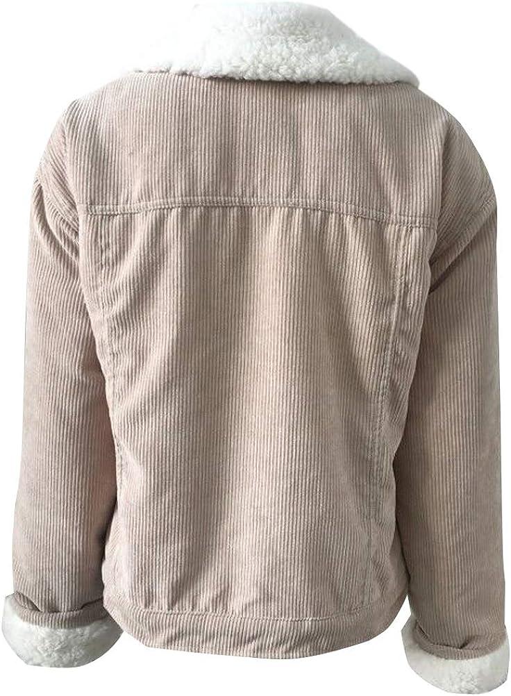 Minetom Damen Winter Vintage Plüsch Gefüttert Cordjacke Freizeit Warm Jacke Oberteile Casual Langarm Tasche Outwear Kurze Parka A Khaki