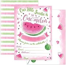 WERNNSAI Watermelon 1st Birthday Party Invitations with Envelops - Pink Watermelon Party Supplies for Girls First Birthday...