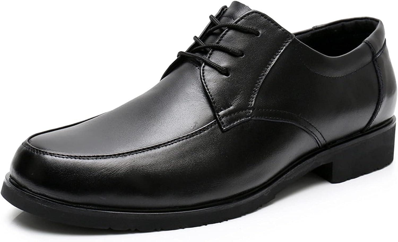 Pointedd Formal Dress Oxford for Men Lace up Stitching Details Soft Flex Soles Solid Black Slip Resistant Light Weight Round Toe Prom (Color : Black, Size : 38EU)