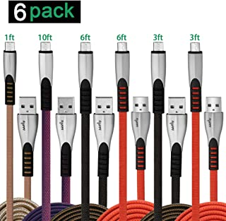 Micro USB Cable,Long Advanced Nylon Braided Micro USB Kindle Fire PS4 Controller Bulk Android Charging Charger Cable Power Cord (1/3/3/6/6/10FT) 6 Pack for Samsung J7 S7 Xbox Nexus Tablet, Bbfly