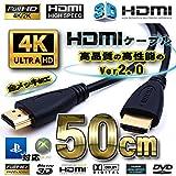 HDMIケーブル 50cm 4K 3D対応 Ver2.0 フルハイビジョン (50㎝)