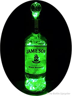 Upcycled Jameson Irish Whiskey Mood Therapy Liquor Bottle Light w/100 Green LED's Topped Off with an Asfour 30% Leaded Clear Crystal Prism Ball