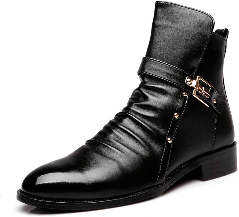 Jiahe Herren Herren Herren Stiefel im britischen Stil Martin Stiefel Nieten Gürtelschnalle Trend Stiefel Four Seasons Cowboystiefel,37  e6213c