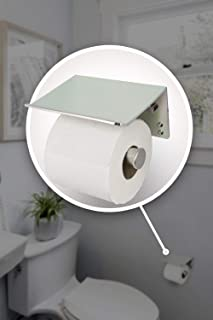 Neater Nest Reversible Toilet Paper Holder with Phone Shelf, Modern Style (Brushed, Single)