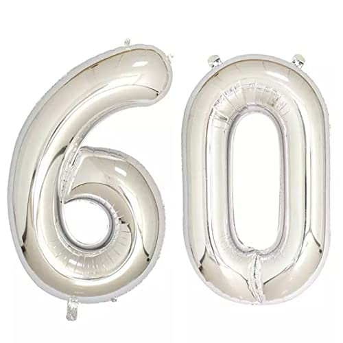 40inch Silver Foil 60 Helium Jumbo Digital Number Balloons 60th Birthday Decoration For Women Or