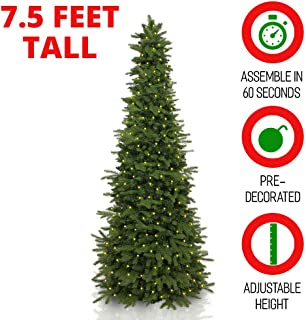 Easy Treezy 7.5ft Prelit Christmas Tree, Easy Setup & Storage in 60 Seconds, Best Realistic Natural Douglas Fir 7.5 Foot Pre-Lit Artificial Tree with LED Lights, Pre-Decorated Holiday Decor MSRP $599