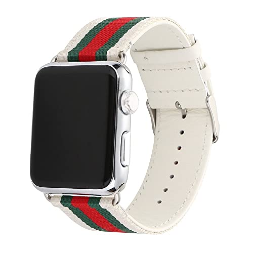 HUANLONG V-0002 Apple Watch Band, Nylon with Genuine Leather Sport Replacement Strap Wrist