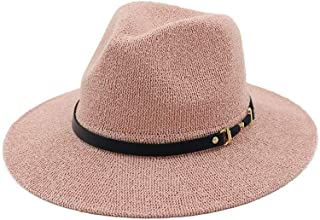 Unisex Panama Hat with Black Band Straw Hat for Men Women Classical Jazz Cap Wide Brim Fedora Summer Sun Beach Cap` TuanTuan (Color : Pink, Size : 56-58CM)