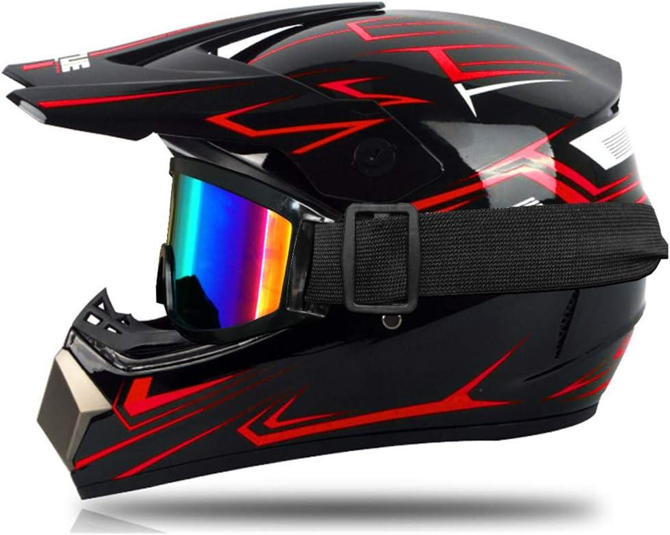 Motocross Helm Für Kinder Rot Und Grün Integralhelm Für Motocross Mtb Mit Brille Handschuhe Geeignet Für Scooter Und Fahrrad Sport Freizeit