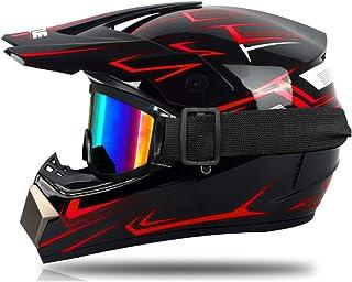 Motocross-Helm, für Kinder, Rot und Grün, Integralhelm für Motocross, MTB, mit Brille, Handschuhe, geeignet für Scooter und Fahrrad.