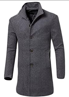 ONTBYB Mens Business Single Breasted Long Wool Blend Pea Coat Overcoat