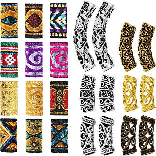 24 cuentas de rasta, para tubos de pelo, para trenzar, accesorios de joyería, trenzado, decoraciones para el cabello para hombres y mujeres, estilo tibetano (patrones novedosos)
