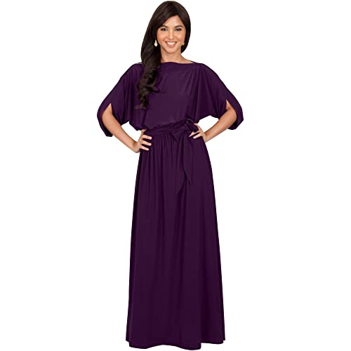 0d34ddd6aa5 KOH KOH Flowy Formal Batwing Sleeve Evening Casual Gown